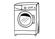 Vetor do ícone da máquina de lavar com estilo da garatuja Foto de Stock Royalty Free