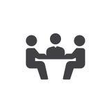 Vetor do ícone da reunião de negócios, sinal liso enchido, pictograma contínuo isolado no branco Símbolo, ilustração do logotipo Foto de Stock