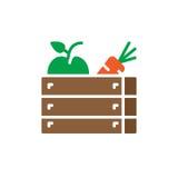 Vetor do ícone das frutas e legumes, sinal liso enchido, pictograma colorido contínuo Fotografia de Stock