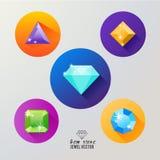 Vetor do ícone das pedras de gema Imagem de Stock Royalty Free