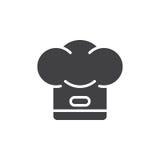 Vetor do ícone do chapéu do cozinheiro chefe, sinal liso enchido Imagem de Stock