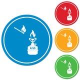 Vetor do ícone do fogão de acampamento Fotos de Stock
