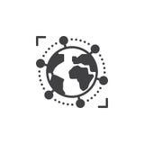 Vetor do ícone do negócio internacional, global, sinal liso enchido, pictograma contínuo isolado no branco ilustração royalty free