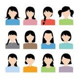 Vetor do ícone do penteado da mulher Imagens de Stock