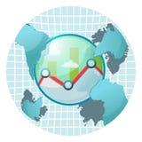 Vetor do ícone do símbolo do mundo do mercado de valores de ação Imagens de Stock Royalty Free