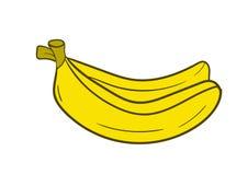 Vetor do ícone do fruto da banana com garatuja Fotografia de Stock Royalty Free