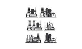 Vetor do ícone do logotipo da construção da fábrica ilustração do vetor