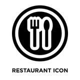 Vetor do ícone do restaurante isolado no fundo branco, concep do logotipo ilustração stock