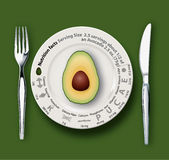 Vetor do abacate dos fatos da nutrição Imagens de Stock Royalty Free
