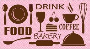 Vetor do alimento, da bebida, da padaria e do café Fotos de Stock Royalty Free