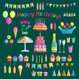 Vetor do aniversário do evento do cocktail da decoração da surpresa do feliz aniversario da celebração dos ícones do partido Imagem de Stock
