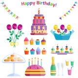 Vetor do aniversário do evento do cocktail da decoração da surpresa do feliz aniversario da celebração dos ícones do partido Fotos de Stock