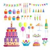 Vetor do aniversário do evento do cocktail da decoração da surpresa do feliz aniversario da celebração dos ícones do partido Foto de Stock