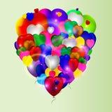 Vetor do aniversário dos ballons dos corações do amor de Colotful Fotografia de Stock