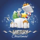 Vetor do azul do sumário das caixas de presente dos elementos de cor do Natal ilustração royalty free
