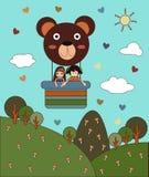 Vetor do balão Teddy Bear com a menina dois no céu Imagem de Stock Royalty Free
