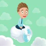 Vetor do céu da hélice da nuvem da equitação do homem Fotografia de Stock Royalty Free