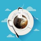 Vetor do café do aroma O homem de negócios senta-se na caneca de café Fotografia de Stock