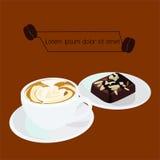 Vetor do café e das brownies do cappuccino imagens de stock royalty free