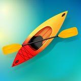 Vetor do caiaque e da pá na ilustração da água de atividades exteriores Caiaque vermelho amarelo, caiaque do mar Foto de Stock
