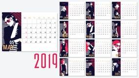 Vetor do calendário do ano 2019 novo com mulheres da forma ilustração royalty free