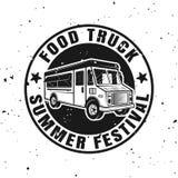 Vetor do caminhão do alimento em volta do emblema monocromático, crachá ilustração royalty free
