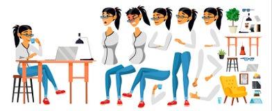 Vetor do caráter da mulher de negócio Fêmea asiática de trabalho O negócio começa acima Escritório moderno Codificação, programaç ilustração stock