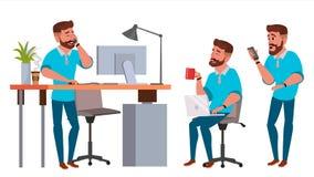 Vetor do caráter do homem de negócio Homem de funcionamento bearded Estúdio criativo do processo do ambiente Comprimento completo Imagem de Stock
