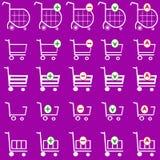 Vetor do carrinho de compras ajustado - cesto de compras Imagens de Stock Royalty Free