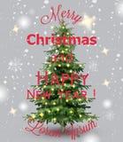 Vetor do cartão da aquarela do Feliz Natal Cartões decorados fundo nevando do convite da árvore de Natal ilustração royalty free