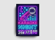 Vetor do cartaz do projeto do karaoke Inseto do molde do projeto do partido do karaoke, estilo de néon, folheto da noite do karao ilustração royalty free