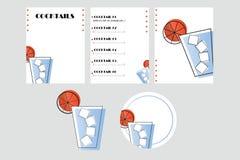 Vetor do catálogo e da pousa-copos do cocktail ilustração royalty free