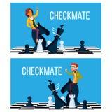 Vetor do conceito do Checkmate O homem e a mulher de negócio fazem o Checkmate a bordo Victory Challenge Ilustração ilustração do vetor