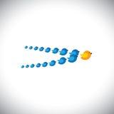 Vetor do conceito da liderança - pássaros que voam formando uma seta Imagens de Stock