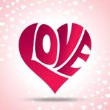 Vetor do coração do amor com corações pequenos no fundo ilustração do vetor