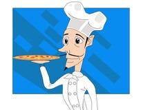 Vetor do cozinheiro e da pizza Fotografia de Stock