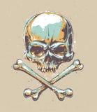 Vetor do crânio de Grunge Fotos de Stock Royalty Free