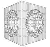Vetor do cubo da caixa da gaiola Imagens de Stock