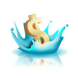 Vetor do dólar do ouro do respingo da água da moeda ilustração royalty free