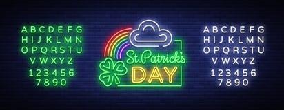 Vetor do dia dos patricks do St Sinal de néon, logotipo, símbolo do convite, cartão, cartão Projete um molde de néon do estilo pa ilustração do vetor