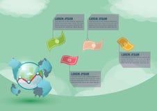 Vetor do dinheiro da apresentação do mundo do mercado de valores de ação Fotos de Stock