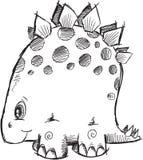 Vetor do dinossauro do Stegosaurus da garatuja Imagens de Stock Royalty Free