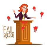 Vetor do discurso da falha da mulher de negócio Mensagem mal sucedida Feedback mau Comendo tomates da multidão Tribuna, tribuna ilustração royalty free