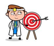 Vetor do doutor Presenting Dart Board dos desenhos animados ilustração royalty free