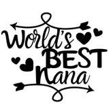 Vetor do eps do vetor da Nana do mundo o melhor, Eps, logotipo, ícone, ilustração da silhueta por crafteroks para usos diferentes ilustração stock