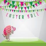 Vetor do EPS 10 do ovo do coelho da venda da Páscoa e do fundo da estamenha