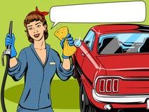 Vetor do estilo da banda desenhada da menina da lavagem de carros Fotos de Stock Royalty Free