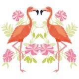 Vetor do flamingo do bordado Imagens de Stock
