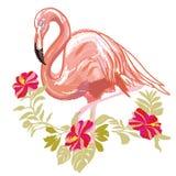 Vetor do flamingo do bordado Fotos de Stock