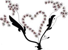 Vetor do Flourish com forma do coração e videiras da flor Fotos de Stock